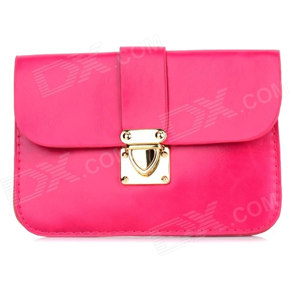 Women's Fashionable PU Long Strap Satchel / Messenger Shoulder Bag - Deep Pink