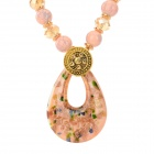 Women's Fashionable Azure Stone + Glass + Zinc Alloy Pendant Necklace - Pink + Golden
