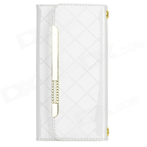Protective PU Leather Case w/ Card Slots / Strap for IPHONE 6 PLUS - White usams protective pu leather flip open case for iphone 5c blue