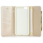 Protective PU Leather Case w/ Card Slots / Strap for IPHONE 6 PLUS - White