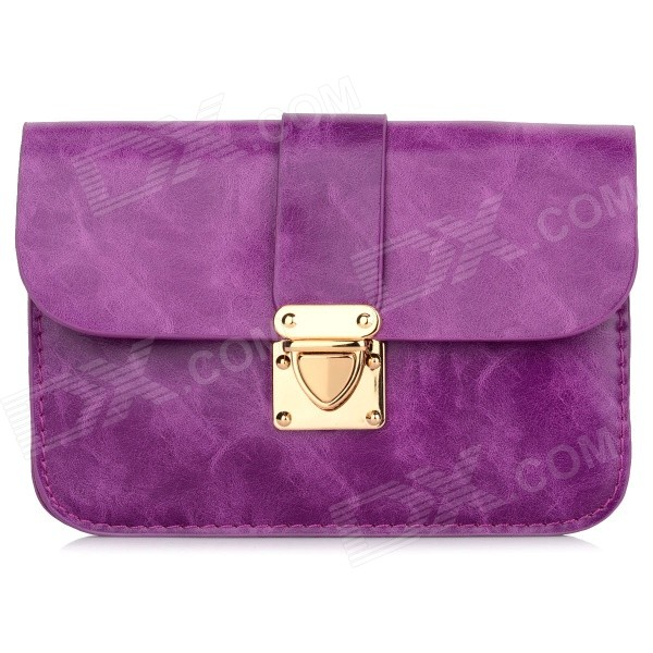 Women's Fashionable PU Long Strap Satchel / Messenger Shoulder Bag - Purple