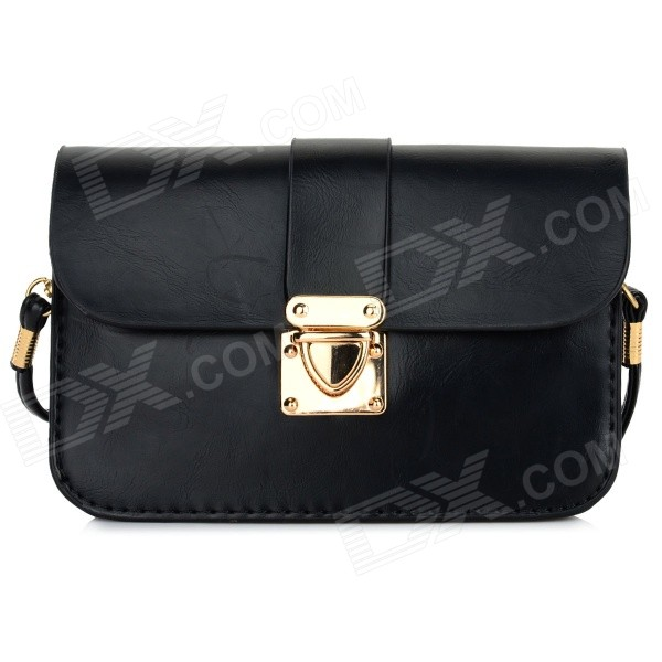 Women's Fashionable PU Long Strap Satchel / Messenger Shoulder Bag - Black