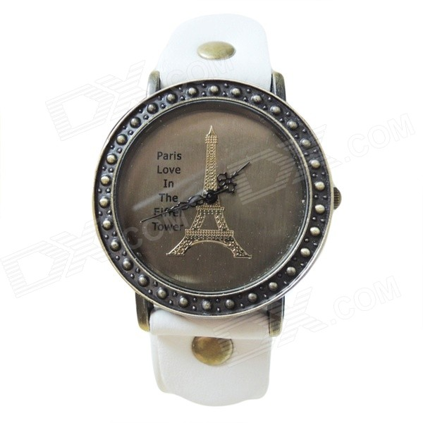 Eiffel Tower Pattern PU Leather Band Analog Quartz Wrist Watch for Women - White + Bronze (1 x AG4)