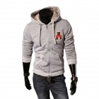 A66 Autumn and Winter Men's Slim Velvet Hooded Sweater - Gray (XL)