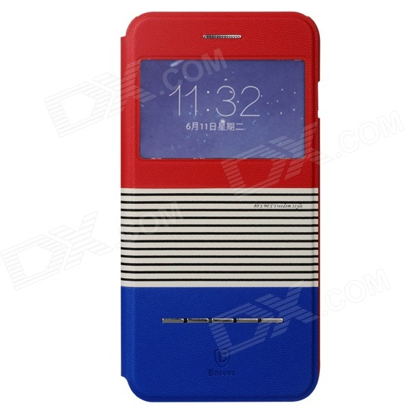 Baseus Protective PU Leather + Plastic Case w/ Stand for IPHONE 6 PLUS - Red + Blue mercury goospery blue moon magnetic leather case for iphone 6s plus 6 plus dark blue