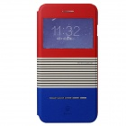 Baseus Protective PU Leather + Plastic Case w/ Stand for IPHONE 6 PLUS - Red + Blue