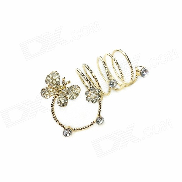 WR-001 Women's Fashionable Rhinestone Inlaid Butteryfly Patterned Zinc Alloy Ring - Golden