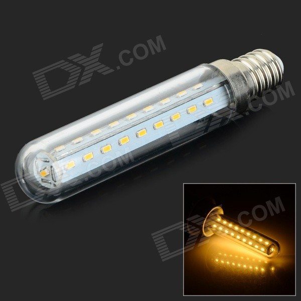 HH-084 E14 6W 240lm 3500K 37 SMD 3014 LED Warm White Fridge Lamp - Transparente + Silver (220V AC)