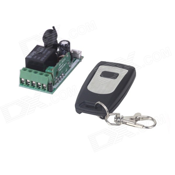 ZnDiy-BRY 12V Mini Wireless Remote Control Switch + Single Button Controller - Black + Light Grey new white color radio controller rf wireless remote control switch wall round transmitter with receiver best quality