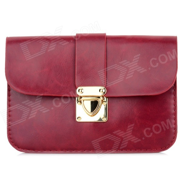 Women's Fashionable PU Long Strap Satchel / Messenger Shoulder Bag - Brownish Red