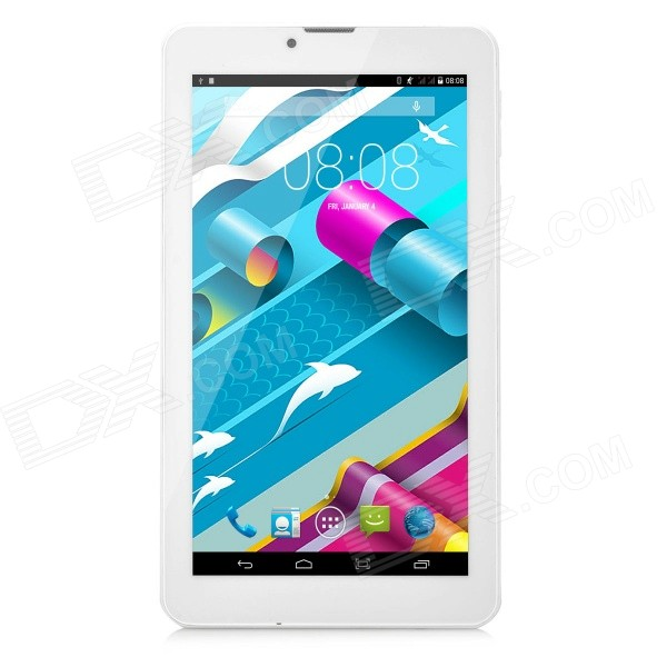 7 IPS Dual-Core Android 4.4.2 WCDMA 3G Tablet PC w/ 4GB ROM, Dual-SIM - White + Blue jiake f1w 5 0inch capacitive touch screen mtk6572 dual core 1 2ghz smartphone 512mb 4gb 2 0mp 0 3mp android 4 2 os 3g gps with protective case black