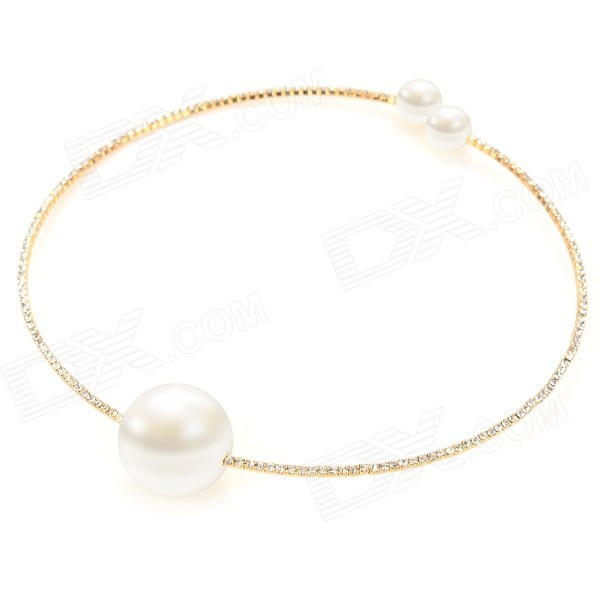 Women's Fashion Chain Pearl Style Pendant Necklace - Golden + Pearl White kcchstar fashion bow style w pearl crystal pedant necklace for women golden white