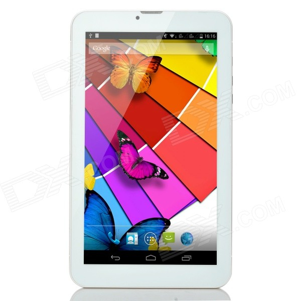 9 TFT Android 4.4 Quad-Core 3G Tablet PC w/ 8GB ROM, Dual-SIM, Bluetooth - White + Gold yuntab7 inch quad core q88 1 5ghz android 4 4 tablet pc q88 allwinner a33 512mb 8gb capacitive screen 1024x600 dual camera wifi