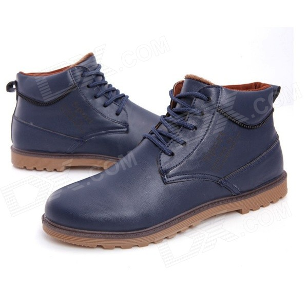 NT00022-9 Men's Winter Fashionable Plush Lining Warm Martin Ankle Boots - Deep Blue (Pair / Size 42)
