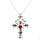 Retro Ancient Cross & Heart Shaped Pendant Necklace - Antique Silver + Red + Black