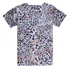 Men's 3D Printing Leopard Head Pattern Short Sleeves Cotton T-shirt - Grey + Multi-Color (XXL)