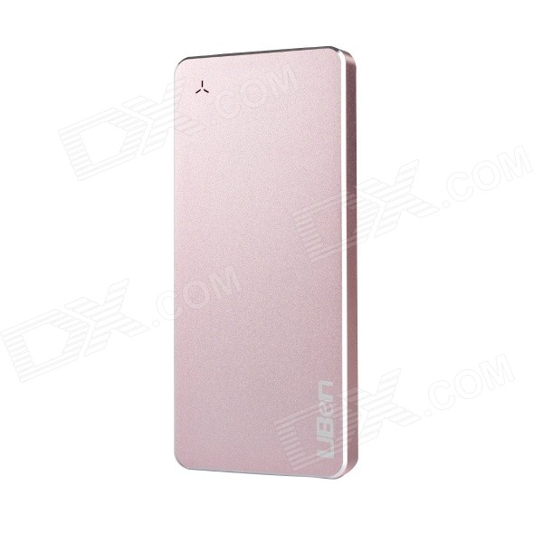 Uben U8 Ultra-thin 6000mAh Aluminum Alloy Li-polymer Battery Charger Power Bank - Pink ultra thin universal 5v 5000mah li polymer battery power bank w led indicator black