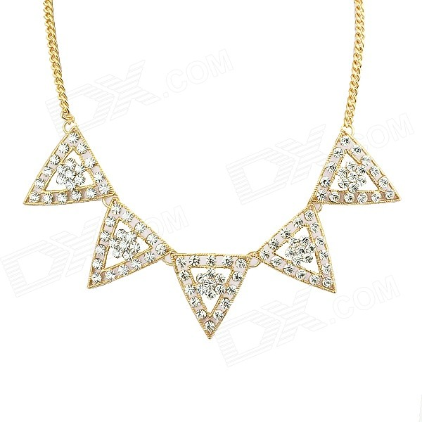 Women's Fashion Rhinestone Inlaid Hollow Out Style Collar Necklace - Golden elegant hand style alloy shirt collar tips necklace golden