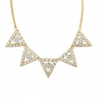 Women's Fashion Rhinestone Inlaid Hollow Out Style Collar Necklace - Golden