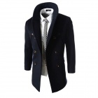 WS755 Men's Autumn and Winter Wear Threaded Collar Double-Breasted Slim Coat - Navy (XXL)