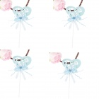 FEIS CL09B-6T Heart-shaped Love Style Decorative Cake Toppers Set - Blue (4 PCS)