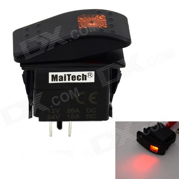 MaiTech 12V 20A / 24V 10A Car Switch with Yellow Light - Black + Yellow 750w 24v 10a solar inverter with controller can resist impact of large current starting loads ce iso approved