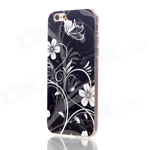 Floral & Plants Pattern Protective TPU Back Case for IPHONE 6 4.7 - Black + White glitter powder imd tpu back case for iphone 7 black butterfly