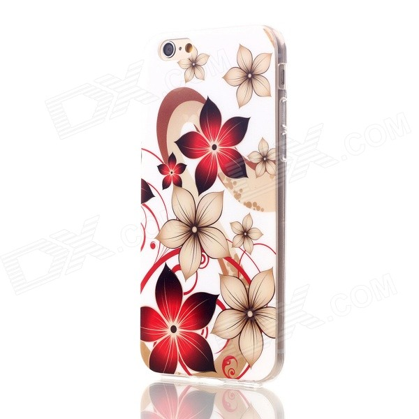 Floral & Plants Pattern Protective TPU Back Case for IPHONE 6 4.7 - White + Red + Multicolor holes pattern protective tpu back case for iphone 6 plus 5 5 yellow