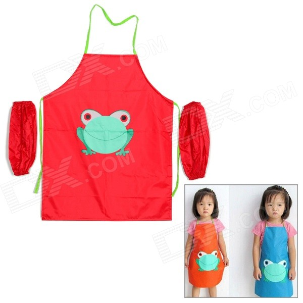 multifunctional-kids-frog-pattern-waterproof-aprons-with-oversleeves-red-size-l