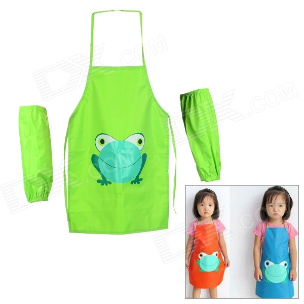 Multifunctional Kids' Frog Pattern Waterproof Aprons with Oversleeves - Green (Size L) zendra блузка