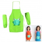 Multifunctional Kids' Frog Pattern Waterproof Aprons with Oversleeves - Green (Size L)