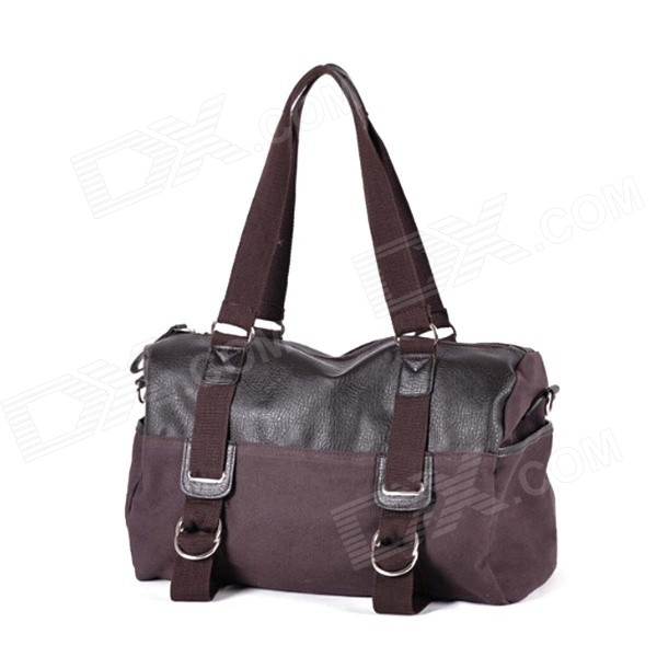 Men's Fashionable Leisure Canvas Handbag Single Shoulder Bag - Coffee