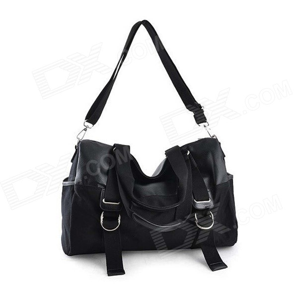 Men's Fashionable Leisure Canvas Handbag Single Shoulder Bag - Black