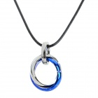 Fashion Multi-Ring Style Zinc Alloy Necklace - Silver + Blue
