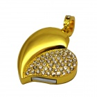 Heart Shaped Pendant USB 2.0 Flash Drive - Golden + White (16GB)