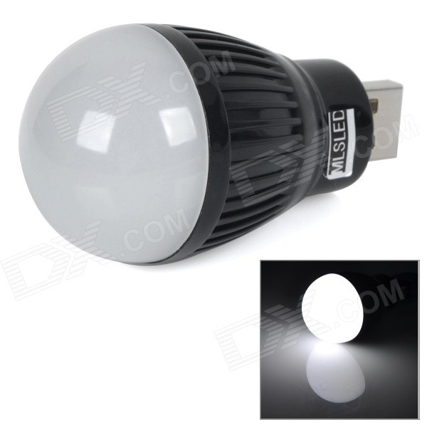 MLSLED MLX-SD-U-HE USB 0.5W 50lm 6500K 3528 SMD LED White Light Bulb - Black (5V)