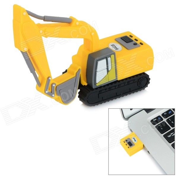 Mini Artificial Excavator Style USB 2.0 Flash Drive - Yellow + Black (64GB)
