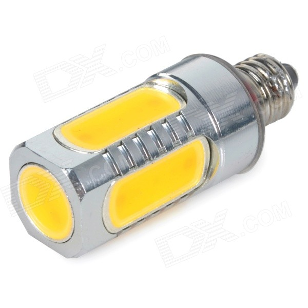 E11 7W 650lm 2700K 5-COB LED Warm White Light Lamp - Silver + Yellow (AC 85~265V) msled gf05 g9 5w 220lm 3500k 5 cob led warm white light crystal lamp silver yellow ac 96 265v