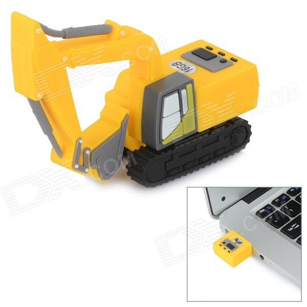 Mini Artificial Excavator Style USB 2.0 Flash Drive - Yellow + Black (16GB)
