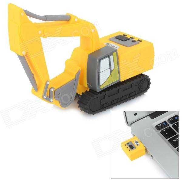 Mini Excavadora Artificial estilo USB 2.0 Flash Drive - Amarillo + Negro (32 GB)