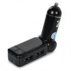 "0.8"" Screen Dual-USB Car Charger w/ FM Transmitter & Bluetooth Hands-free Calls & MP3 Player - Black"