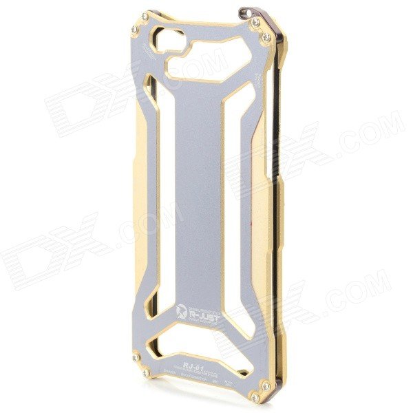 High Quality Fashhion Aluminum Alloy Protective Back Case for IPHONE 6 - Golden + Grey цена и фото