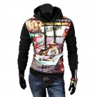 YT-A32 Men's Fashionable Retro Printing Hooded Sweater - Black + Multi-Colored (XL)