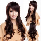 Women's Daily Lovely Side Bang Synthetic Wavy Long Wig - Dark Brown