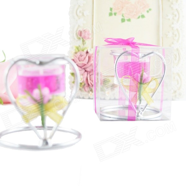 FEIS ZT-026 Heart-shaped Candlestick - Deep Pink - DXCandles &amp; Holders<br>Color Dark Pink Model ZT-026 Material Jelly wax + glass + wrought iron Quantity 1 Piece Packing List 1 x Candlestick<br>