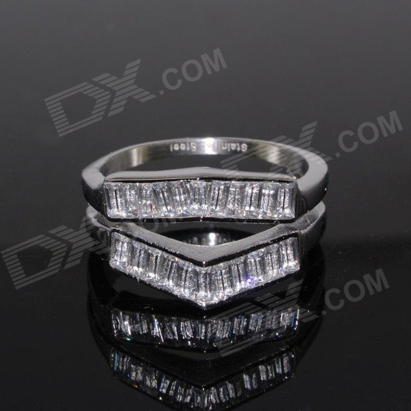 SR0342 Shinning Cubic Zirconia + 316L Stainless Steel Double Layer Ring - Silver (US Size