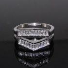 SR0342 Shinning Cubic Zirconia + 316L Stainless Steel Double Layer Ring - Silver (US Size: 6.5)