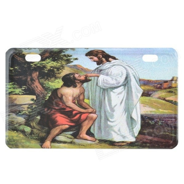 Jesus Pattern Decorative Aluminum Alloy Car License Plate - White + Red