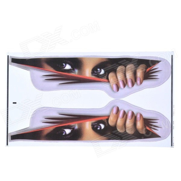 Big Eyes Pattern Car Body Paper Sticker Decal - Red + Silvery Grey (M)