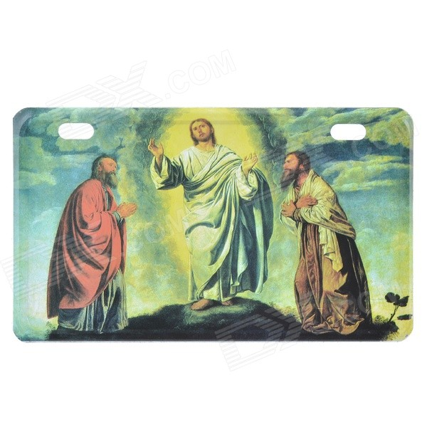 Jesus Pattern Aluminum alloy Decorative Car License Plate - Red + Green + Multicolor